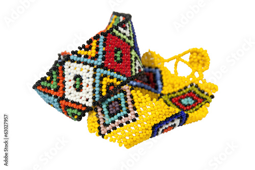 Two Zulu Beadwork Bracelets in Bright Colors