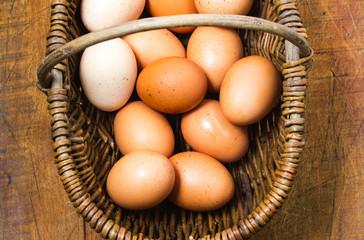 Organic, free-range eggs in vintage French basket