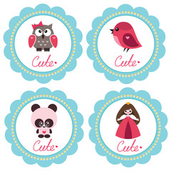 Cute baby-girl retro-styled greeting cards
