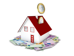 Euro coins falling in house concept