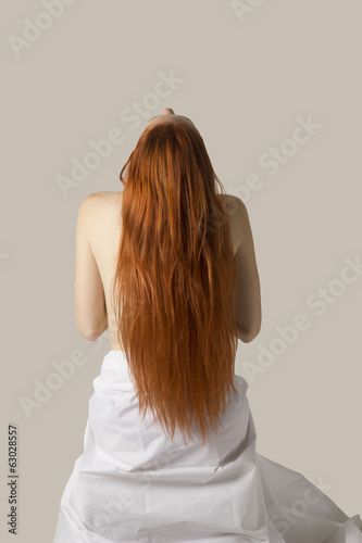 Beautiful long red hair woman