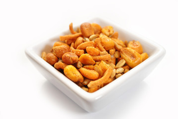 Spicy Trail Mix in a White Square Bowl