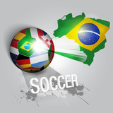 brazil soccer ball with world teams flags poster