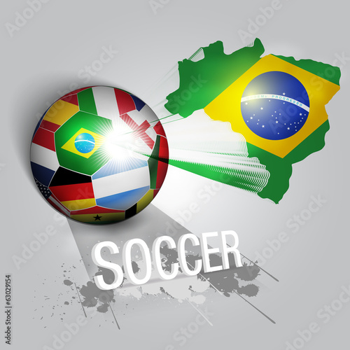 brazil soccer ball with world teams flags