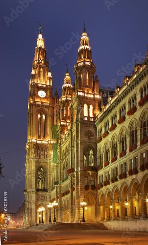 Town Hall (Rathaus) in Vienna. Austria