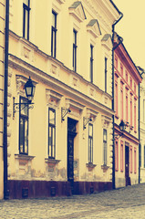 Old town street in Veszprem, Hungary (old photo)