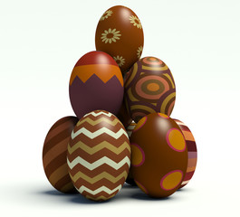 Group of brown Easter eggs.
