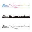 Riga skyline linear style with rainbow