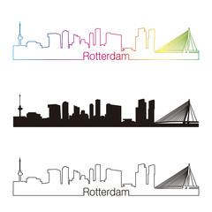 Rotterdam skyline linear style with rainbow