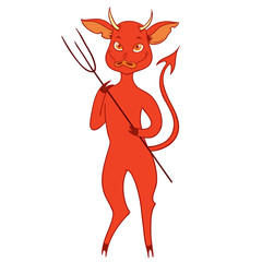 Cute Devil Vector/Red devil mascot cartoon