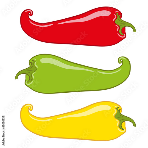 Hot chilli pepper vector set isolated on white background
