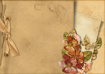 Vintage background with card&gorgeous flowers