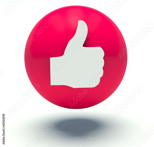 Thumbs up sign. 3d render illustration.