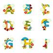 Obrazy na płótnie, fototapety, zdjęcia, fotoobrazy drukowane : alphabet rainbow from A to I - vector illustration