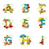 Fototapety alphabet rainbow from A to I - vector illustration