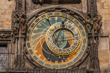 View of the astronomical clock in Prague, this a a popular touri