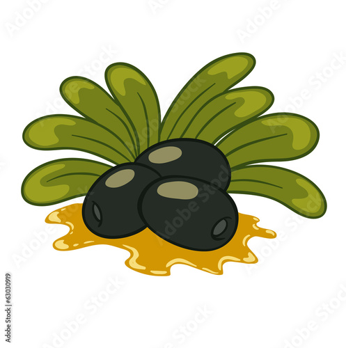 vector illustration tasty ripe olives with oil flowing down.