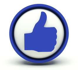 Thumbs up sign. 3d render.