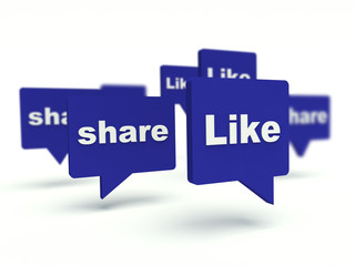 Like and Share bubble speech. Social network concept.