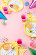 Girl birthday pink table setting with party gadgets - 63031702