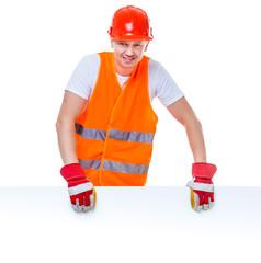 happy working man in a helmet