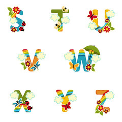 alphabet rainbow from S to Z - vector illustration