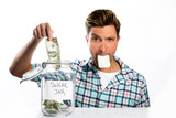 Man paying a swear jar poster