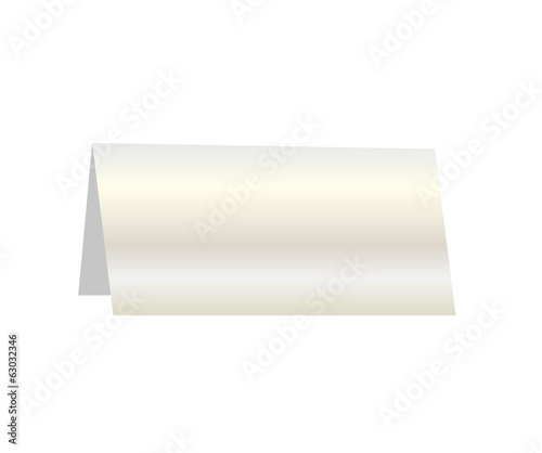 Silver paper table card sign, vector illustration
