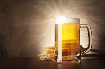 Mug of lager beer with a solar flare