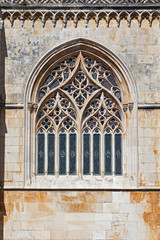 Batalha Monastery. Tracery Gothic window in Capela do Fundador
