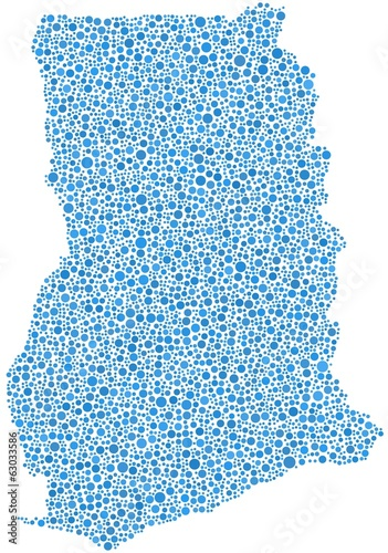 Republic of Ghana - Africa - in a mosaic of blue bubbles