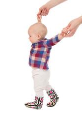 child baby kid make first steps