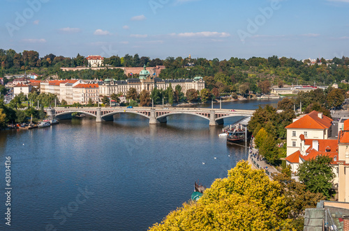 View at Vltava River, manesuv most bridge, Prague, Czech Republi