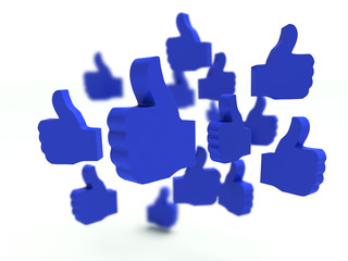Group of blue thumbs up signs. 3d render.