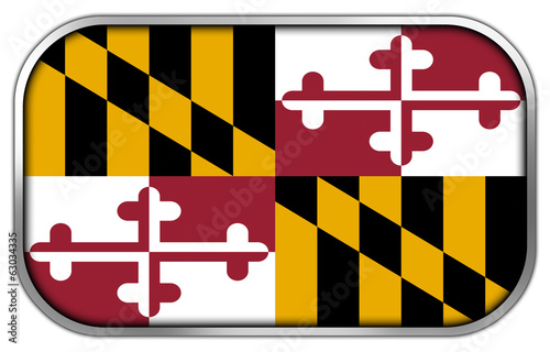 Maryland State Flag rectangle glossy button