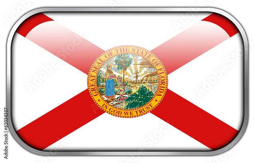 Florida Flag rectangle glossy button