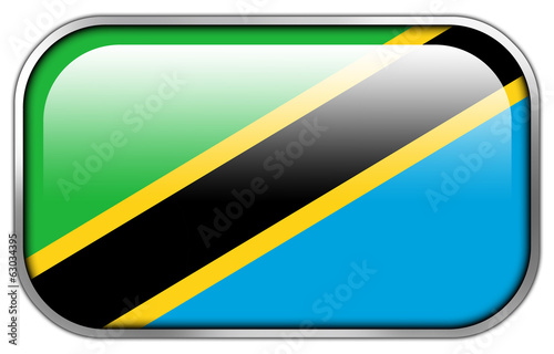 Tanzania Flag rectangle glossy button