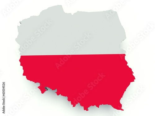Map of Poland with flag colors. 3d render