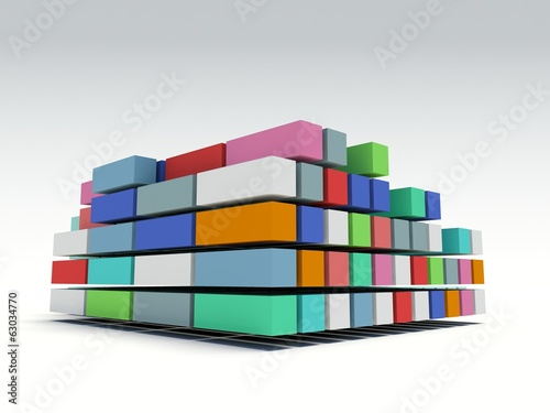 3d render representing a group of stacked cargo containers.