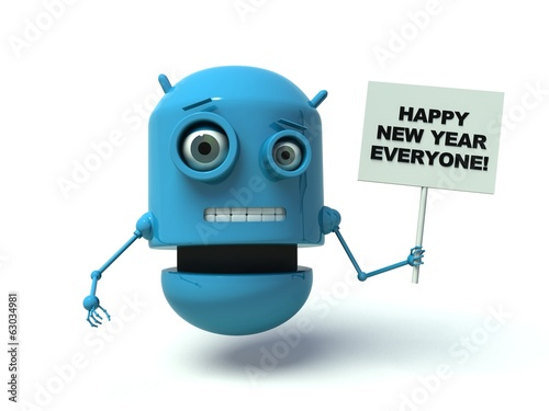 Cute blue robot with message 'Happy New Year Everyone'