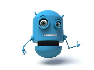 Blue robot doing the thumbs up signal. 3d render.