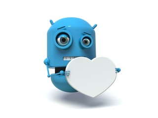Cute blue robot holding a white heart. 3d render.