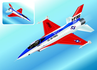 Detailed Isometric Illustration of an F-16 Falcon Fighter Jet