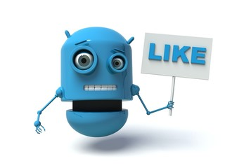 Cute blue robot with message board 'like'.