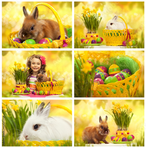 Collage with photos of easter