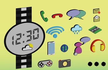 Smartwatch, iwatch watch wereable vector odds app