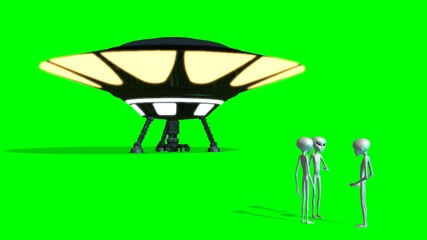 UFO and Aliens in conversation -  green screen