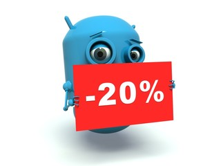 Cute blue robot advertising 20 % discount.