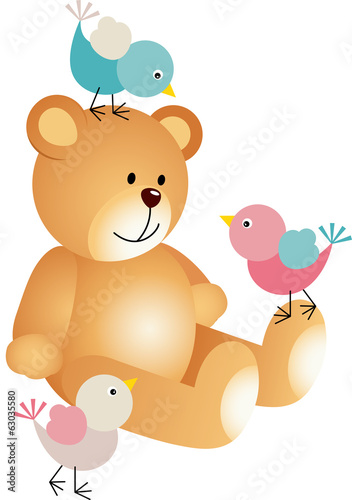 Teddy bear with a three birds