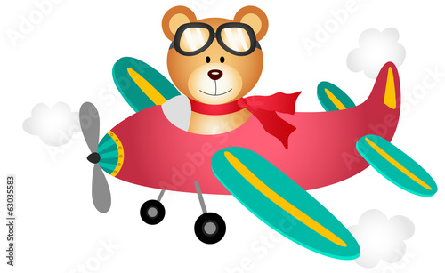 Teddy bear fly on a airplane